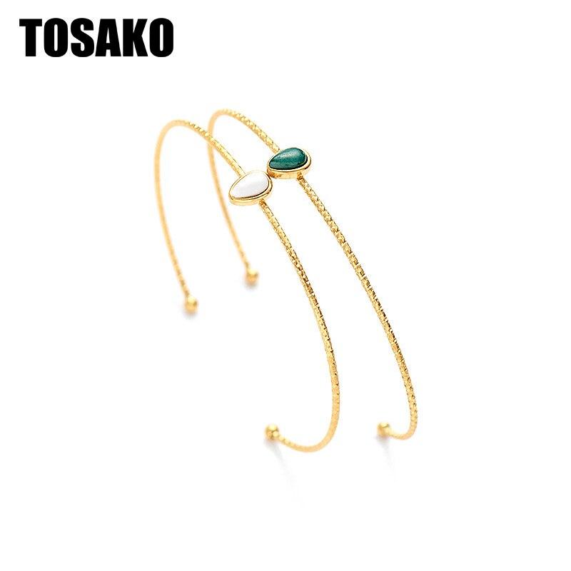 توساكو سوار ستانلس ستيل للنساء موضة قطرة الماء حجر قابل للتعديل لون ذهبي