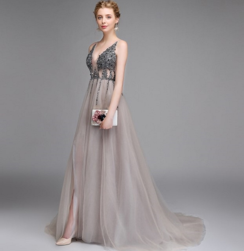 2021 Hot Selling Beading Deep Sexy V-Neck Sleeveless A-Line High Split Evening Dress Party Dress Backless Prom Dress