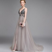 2021 Hot Selling Beading Deep Sexy V-Neck Sleeveless A-Line High Split Evening Dress Party Dress Bac