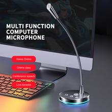 Компьютерный микрофон, регулируемый на 360 °, Студийный микрофон для речи, игрового общения, USB-микрофон, настольный ПК, ноутбук