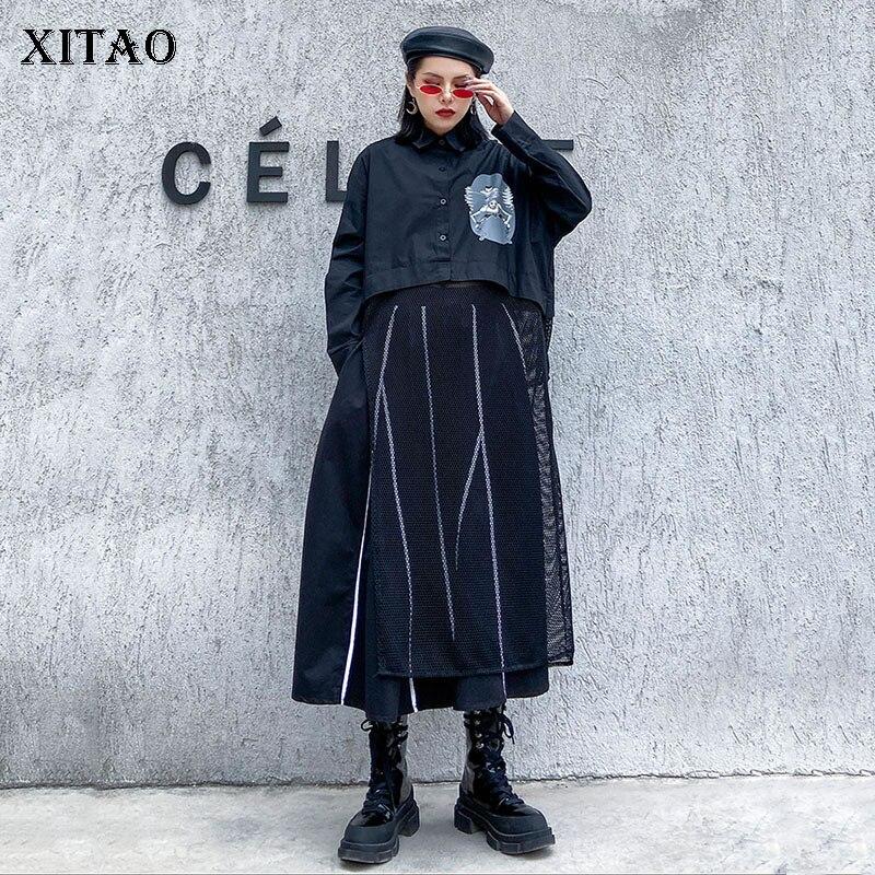 XITAO-بلوزة نسائية بنمط هاراجوكو ، شبكة لصق ، أقلية ، ملابس الشارع ، قميص طويل ، أسود ، مقاس كبير ، XJ3744