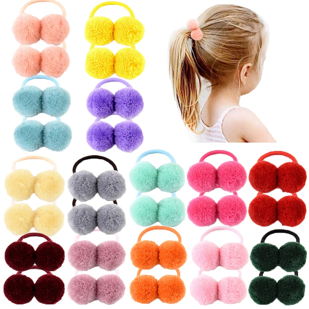 14 шт. / Лот 1,4-дюймовий невеликий твердий подвійний хутряний кулька з еластичною мотузкою, стрічка для волосся ручної роботи для дівчат, аксесуари для волосся
