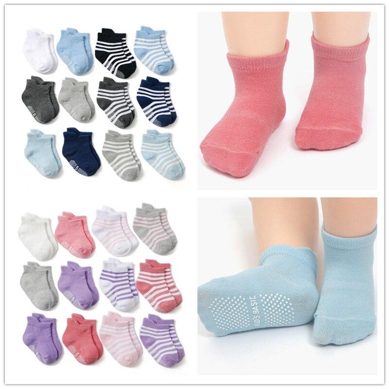 12pairs/lot Kids Socks Cotton Baby Socks Rubber Slip-resistant Floor Socks Suit for 1--3years