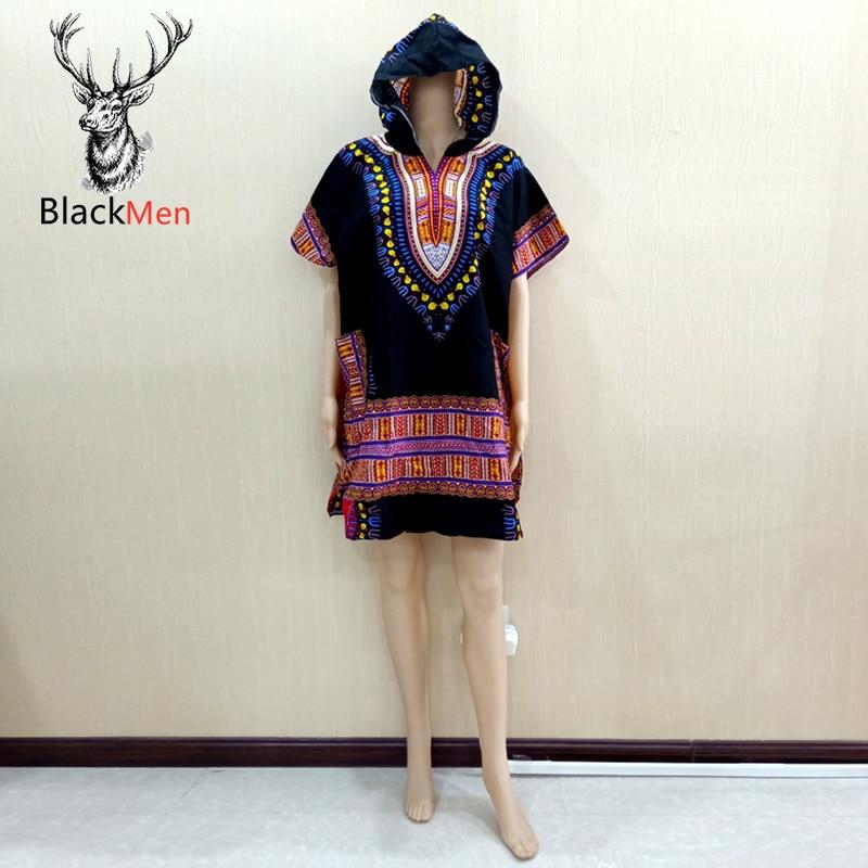 Dashiki Traditional Print 100% Cotton African Tops T-Shirt Casual Pockets T-Shirt Hooded европейская одежда американская одежда