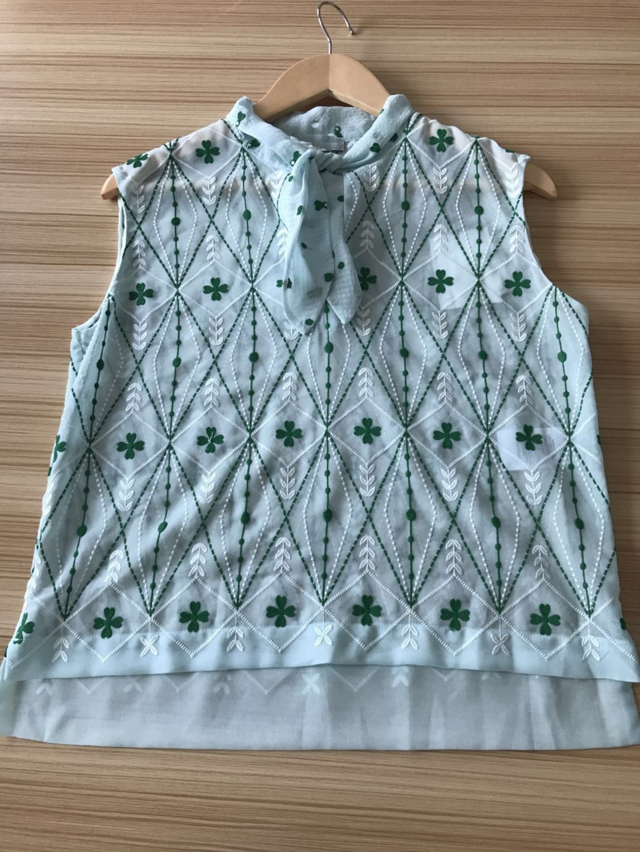 18 Small Fresh Bow Diamond Shape Embroidery Top Pure Original 85138