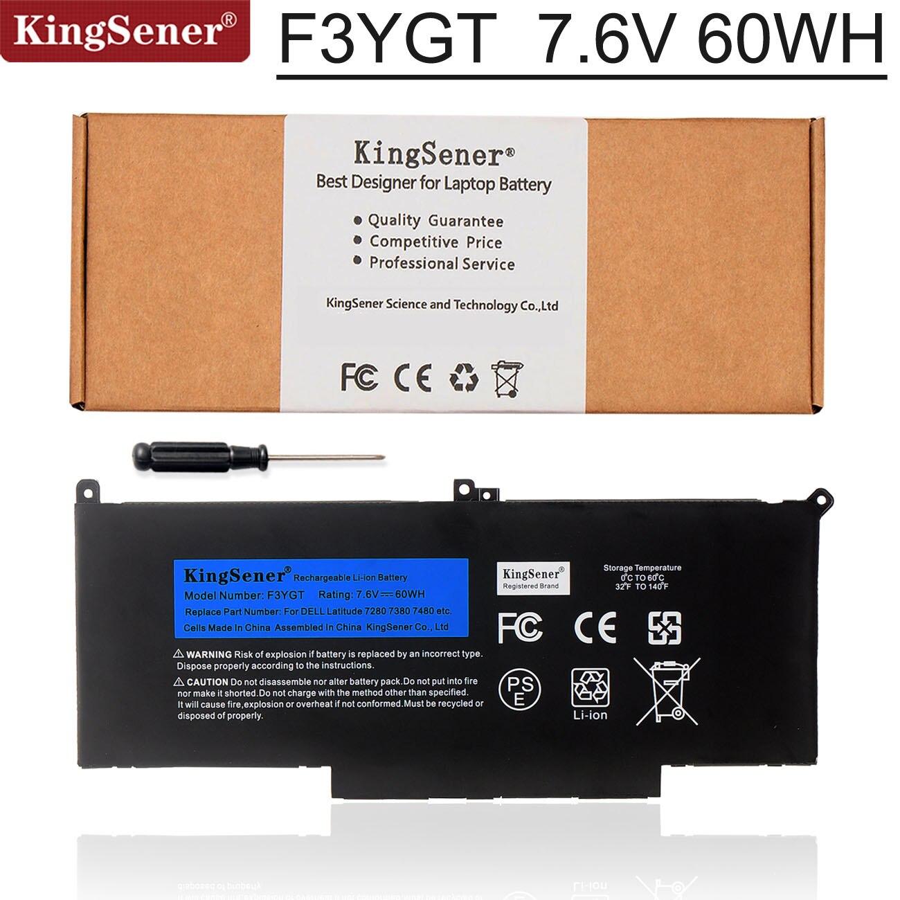 Kingsener F3YGT بطارية كمبيوتر محمول لديل خط العرض 12 7000 E7280 E7290 E7380 E7390 E7480 E7490 F3YGT 2X39G 7.6V 60WH