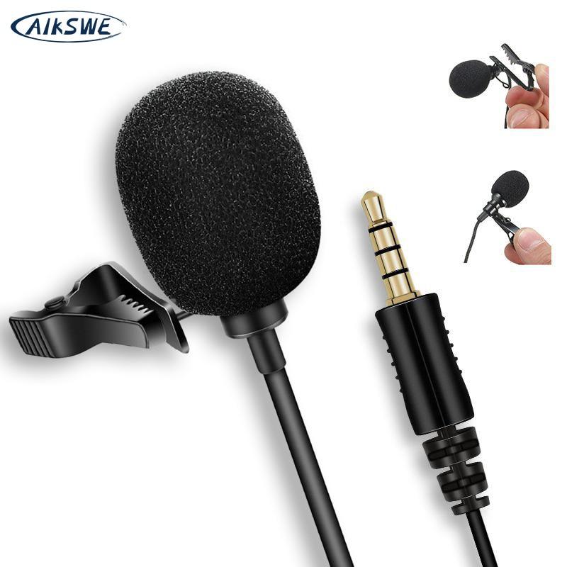 AIKSWE Metal micrófono 3,5mm Jack solapa Clip de corbata micrófonos USB de Audio de micrófono de solapa para iPhone teléfono Android Cámara de la computadora de la PC