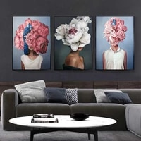 flowers feathers woman abstract wall art posters print on canvas wall pop art decorative pictures for living room decor