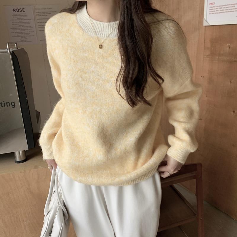Женские зимние теплые повседневные Мягкие свитера, пуловеры, осенние женские вязаные топы с круглым вырезом и длинным рукавом
