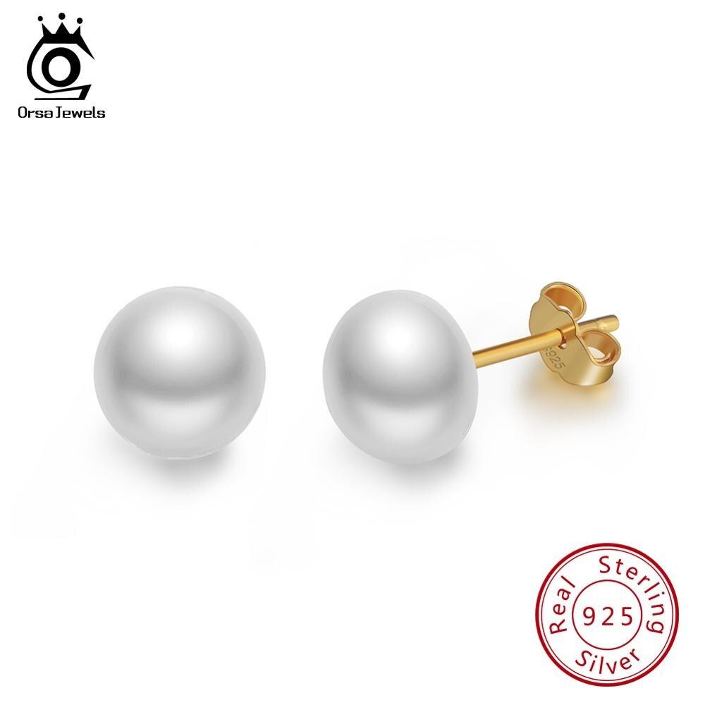 Pendientes ORSA JEWELS Plata de Ley 925 auténtica con pasador para mujer, perlas auténticas de agua dulce, 8 MM, color dorado, joyería femenina para fiestas, SE86