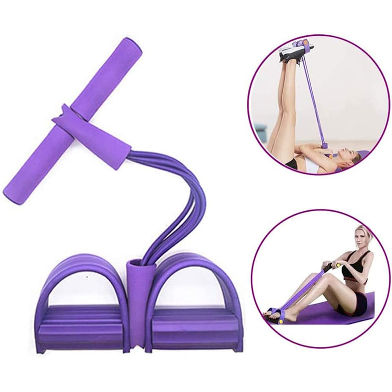 4 Tube Multifunction Resistance Training Pull Rope Sit-up Expander Foot Pedal Workout Bands Home Gym Sport