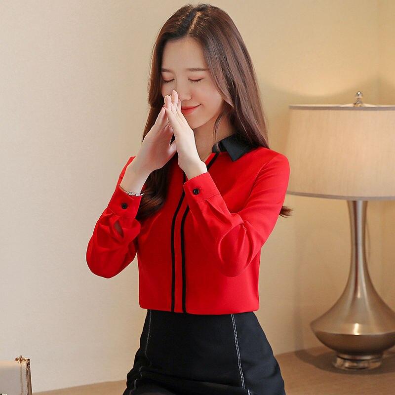 Nova primavera outono estilo feminino chiffon blusas manga longa camisas moda botão turn-down colarinho elegante feminino topos df3184