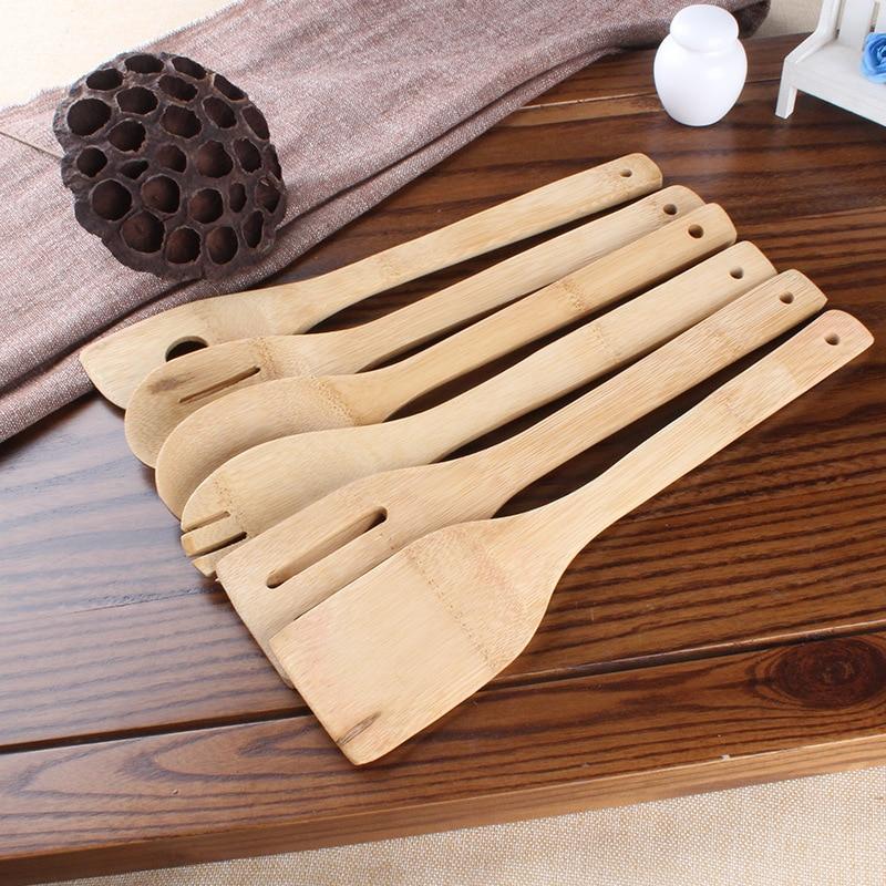 مجموعة من 6 أواني 30 سنتيمتر ، ملعقة بامبو ، أدوات مطبخ خشبية ، ملعقة بمقبض طويل ، قلي السمك ، مجموعة خلط