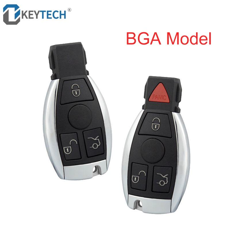 Carcasa para llave de coche con Control remoto inteligente OkeyTech con 3/4 botones para mercedes-benz BGA 2007-2013 con cuchilla sin cortar en blanco