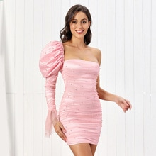 High Quality Women Summer Dress Sexy Bodycon Dress Puff Sleeves 2021 Lined Pink One Shoulder Elegant