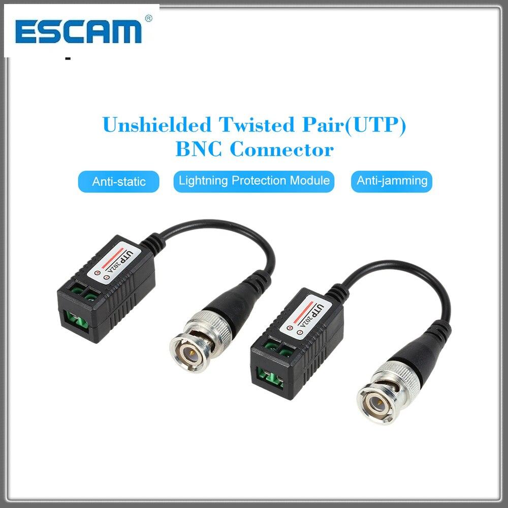 2 pces alta definição ahd hd cvi hdtvi bnc para utp cat5 vídeo balun transceptores passivos adaptador transmissor 300m lcc escam 202a