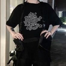 Summer tops Female Punk Steetwear Hip hop Vintage Dragon Gothic women Korean tees Black Large Size Harajuku Short Sleeve T-Shirt