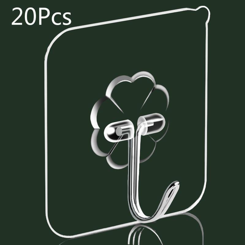 6 * 6 tiszta nano-ragasztó erős átlátszó tapadókorong horog, konyhai és fürdőszobai horog 6 * 6cm, lyukasztás nélküli varrat nélküli kampók
