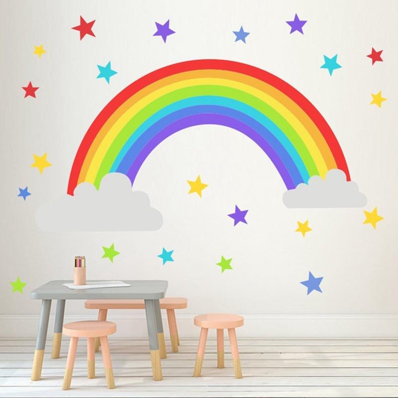 Adesivo de parede do arco-íris e estrelas, decalque em vinil para quarto das crianças, arte removível, decoração para casa, loja, diy
