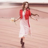final fantasy vii aerith gainsborough cosplay costume game ff7 aerith red jacket pink dress fancy clothing halloween uniforms