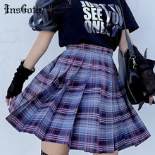 InsGoth-Mini jupe gothique, Punk Harajuku, taille haute, à carreaux violets, Sexy, style japonais et coréen Hipsters JK, été