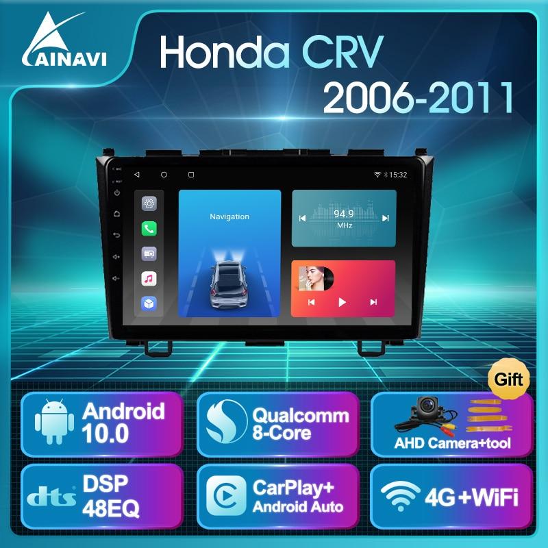Car Radio Android 10.0 AI Voice 6+128G QLED For Honda CRV 2006-2011 Auto Stereo Multimedia Video Pla