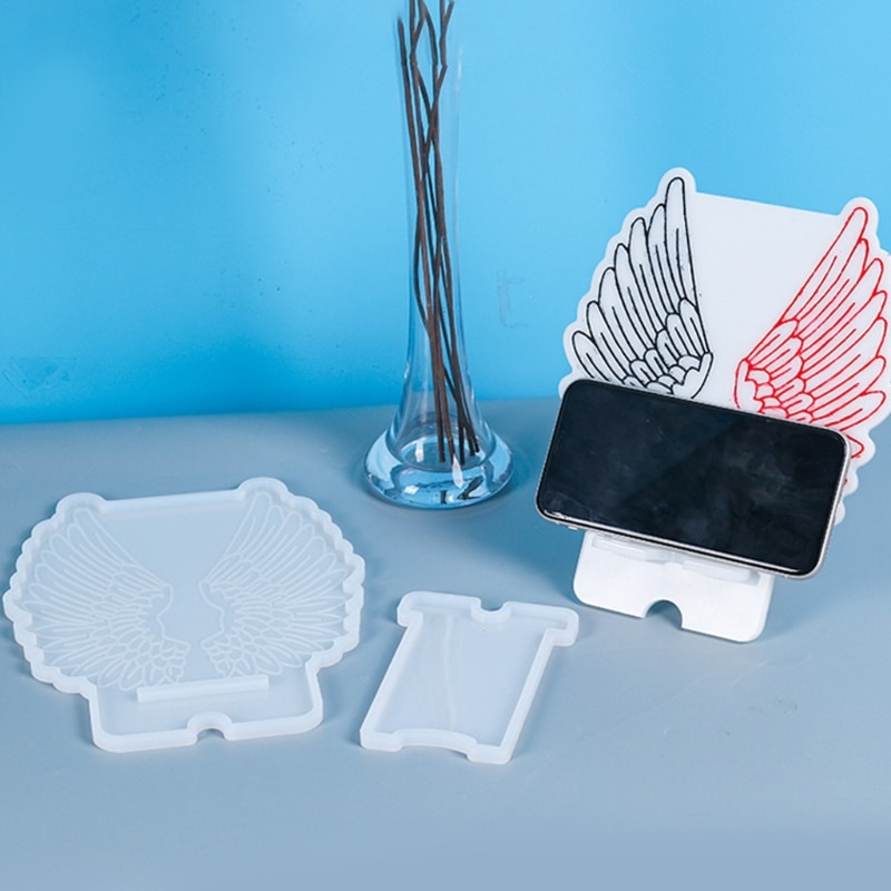DIY Crafts Decoration Making Tool Crystal Epoxy Resin Mold Wing Phone Holder Cellphone Bracket Casting Silicone Mould