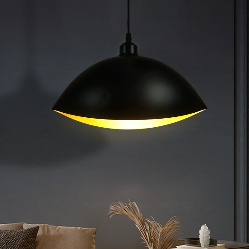 forma criativa luz pingente preto surfac golden interior lampada de suspensao para