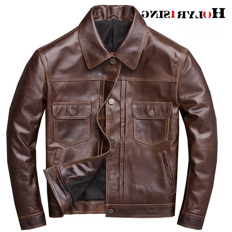 جاكيتات الكلاسيكية موتوسيكل الرجال سترة جلدية براون 100% العجل الطبيعي الجلد موتو سترة رجل السائق معطف الشتاء S-4XL حجم 19114