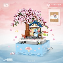 LOZ Bricks Mini Blocks Sakura Cherry Tree House Music Box Set Architecture Model Building Kits Kids