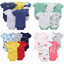 5pcs/lot Baby Romper Short Sleeve Cotton Boy Girl Clothes Summer Jumpsuits Clothing Set Body Suits 6