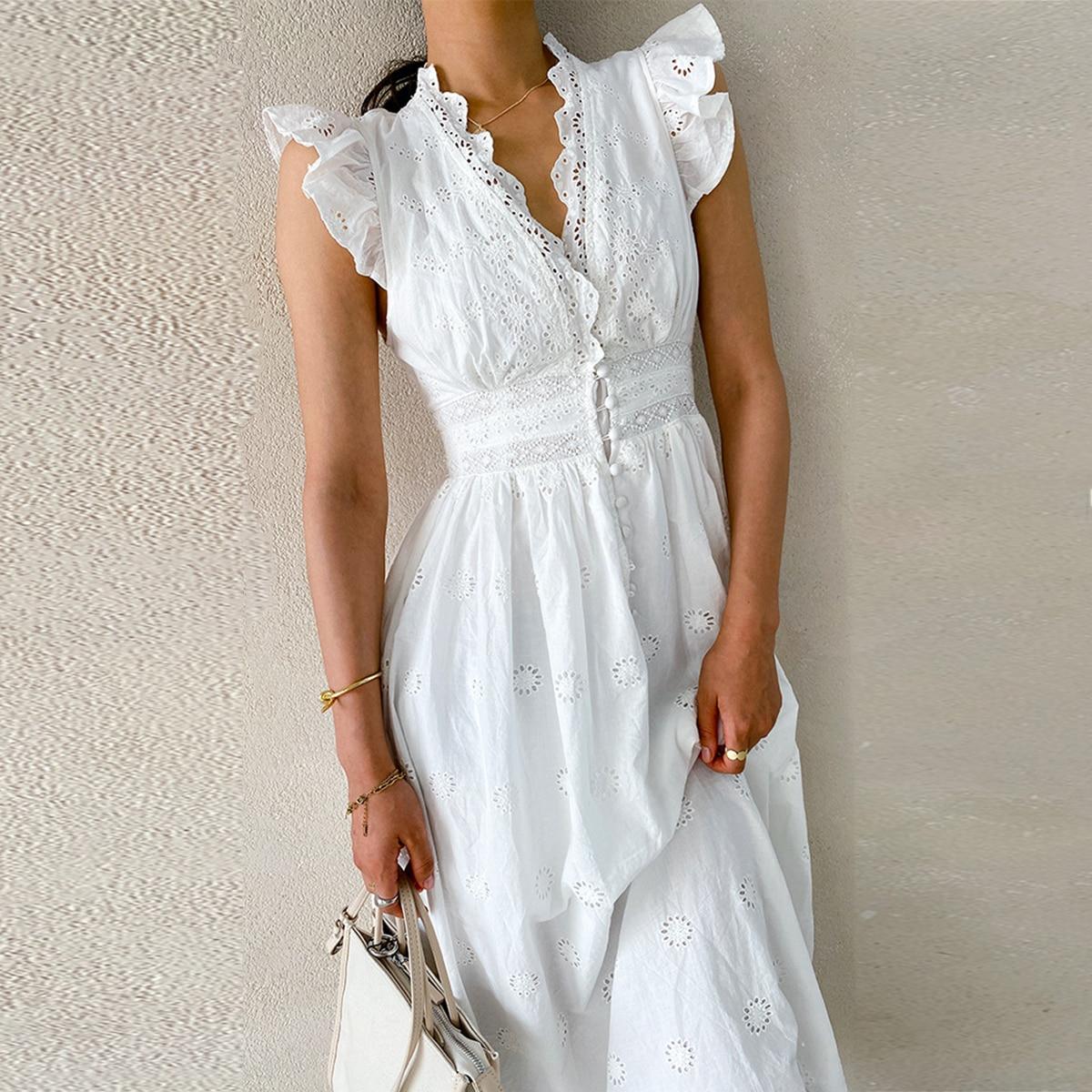 تطريز تحلق الأكمام المرأة فستان الصيف الخامس الرقبة عالية الخصر تونك قطن فساتين السيدات خمر شاطئ عادية البوهيمي Vestido