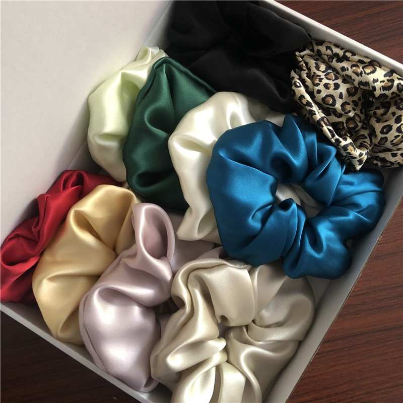 100% Pure Silk Hair Scrunchies Width 6cm Hair Band Girls Ponytail Holder Soft Elastic Rubber Hair ties OL Basic Luxurious Colors