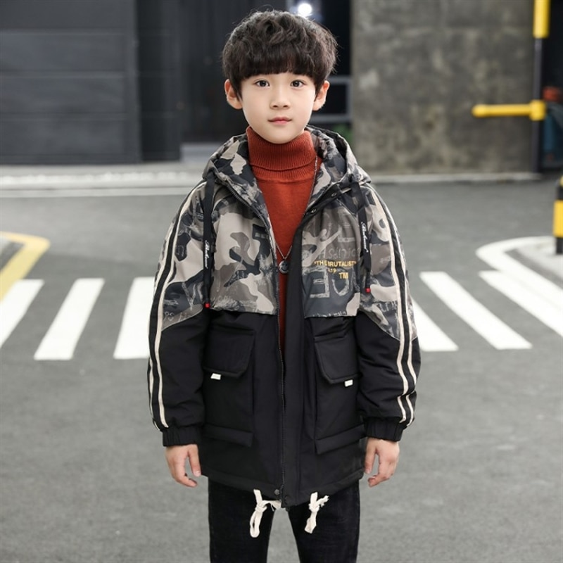 Child and teen boys velvet padded thickened coat autumn coat children's autumn clothing winter long camouflage trench coat enlarge