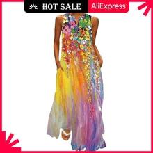 MOVOKAKA Summer Long Dress 2021 Elegant Robe Dress Party Sleeveless Dresses Women Casual Sundress Vi