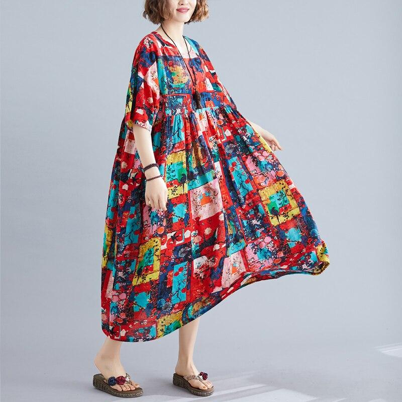Plus size xadrez floral boho praia vestido de verão 2020 novos vestidos de chegada 4xl 5xl 6xl para mulher algodão longo vestido casual de grandes dimensões