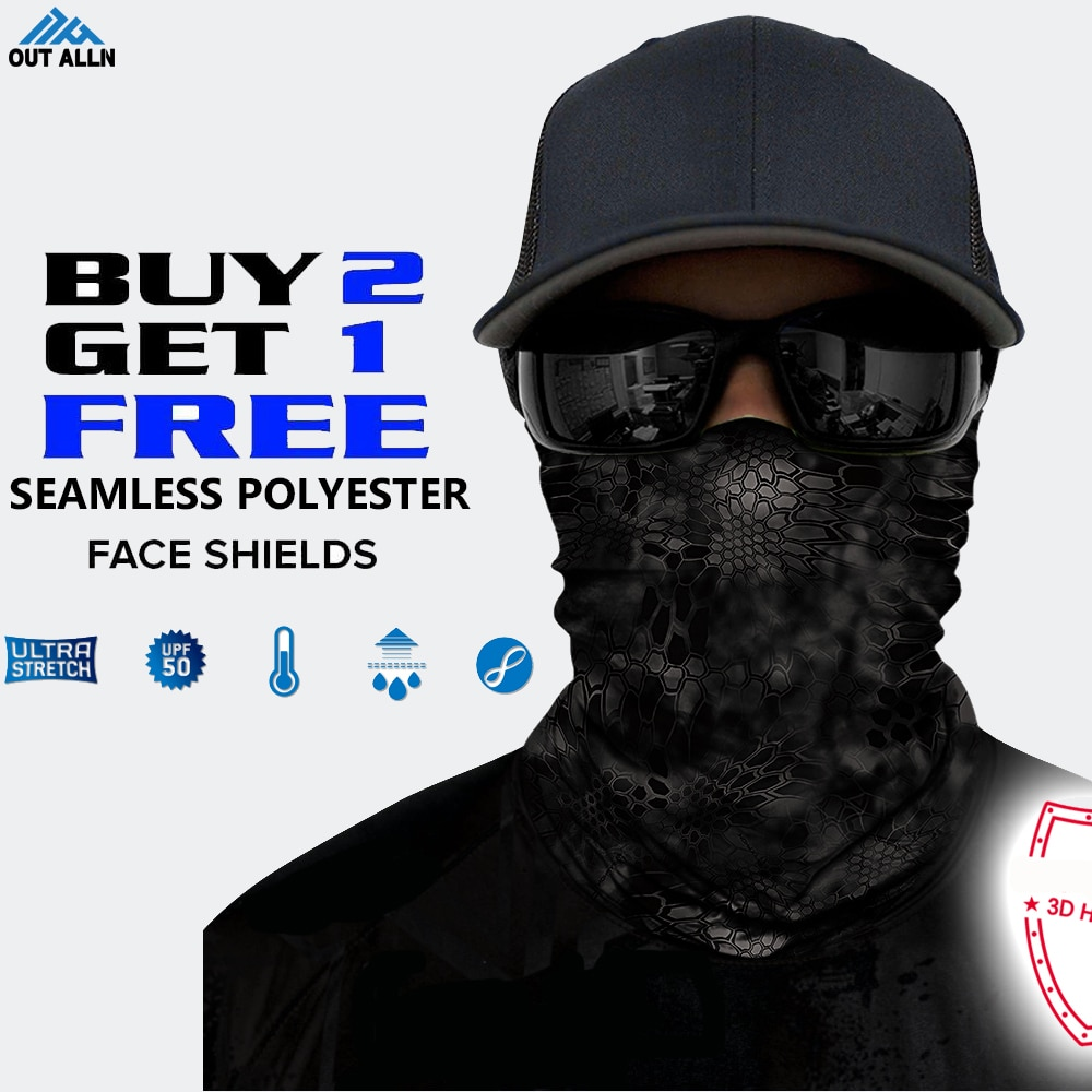 Protección facial 3D camuflaje Neck Gaiter táctico Bandana sin costuras diadema para ciclismo Camo cara máscara militar del ejército de senderismo hombres
