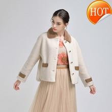 Abrigo de piel de oveja Real para Mujer abrigo de Invierno Mink coreano chaqueta con cuello de piel Abrigos de Mujer Invierno 2020 1H2215008 YY651