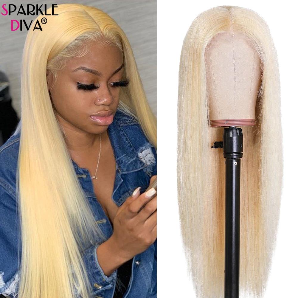 613 Honey Blonde Lace Front Human Hair Wig 36 34 32 Inch Remy Straight Brazilian 613 Ombre 13x4 Lace