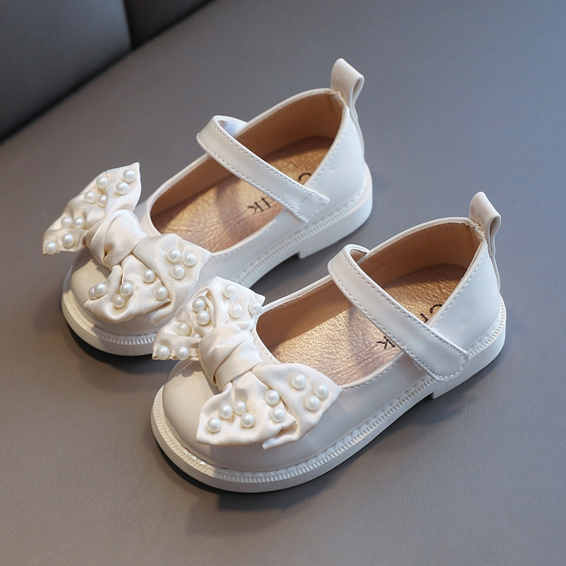 New Kids Black Leather Shoes Girls Bowknot Princess Shoes Children Flat Single Shoes For Wedding Party Dance Performance 1-7T girls leather shoes children girls baby princess bowknot sneakers pearl diamond single shoes kids dance shoes newest autumn
