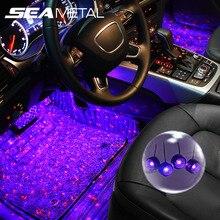 4 en 1 voiture LED atmosphère lumières coloré RGB intérieur sol pied lumières universel Auto USB décoratif lampe ambiante voiture style