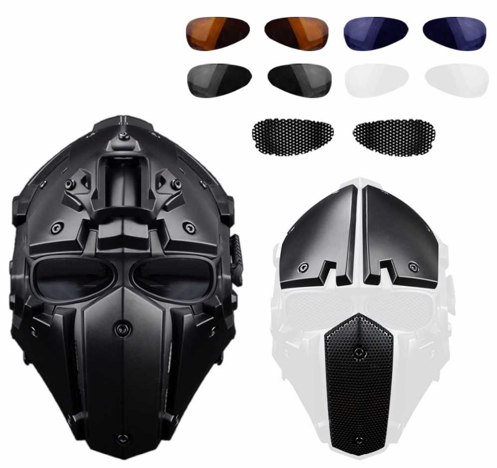 Military Tactical Helmet With NVG Mount Terminator Full Face Paintball Masks Goggles Army CS Wargame Hunting Airsoft Helmet Mask airsoft paintball tactical helmet protective fast helmet abs tactical mask with goggles cs equipment