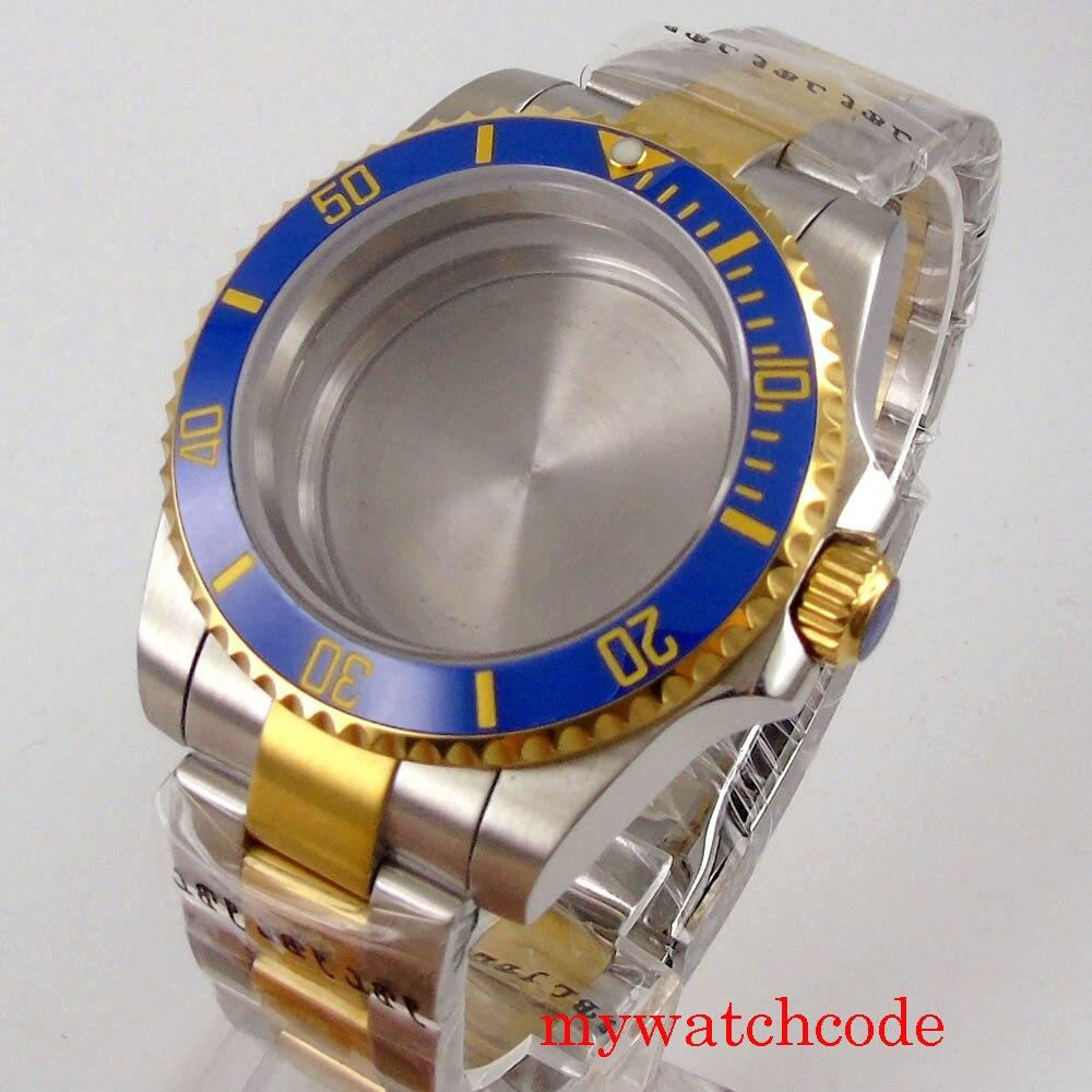 Banhado a Ouro Relógio de Vidro Luxo Case Safira Plana Caber Nh35 Nh36 Movimento Automático Sólido Volta 40mm Men