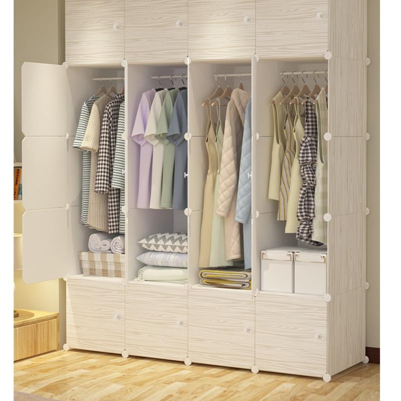 بسيطة مواد من الصمغ القماش خزانة سعة كبيرة التجمع النسيج خزانة صغيرة واحدة غرفة نوم تأجير تقليد خشب متين