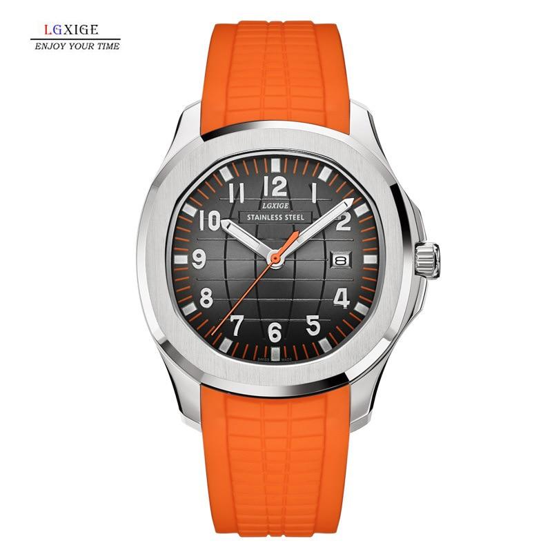 LGXIGE رائجة البيع قنبلة يدوية ساعة كوارتز رجالية مضيئة ساعة رياضية