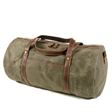 Retro men's travel bag canvas with leather large-capacity luggage bag portable waterproof business t