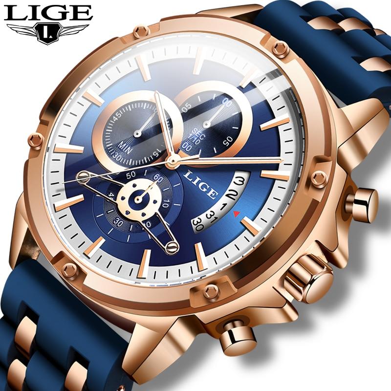 Relogio Masculino 2020 LIGE, relojes de moda para hombre, relojes de pulsera de lujo únicos de silicona a prueba de agua, reloj de cuarzo deportivo para hombres