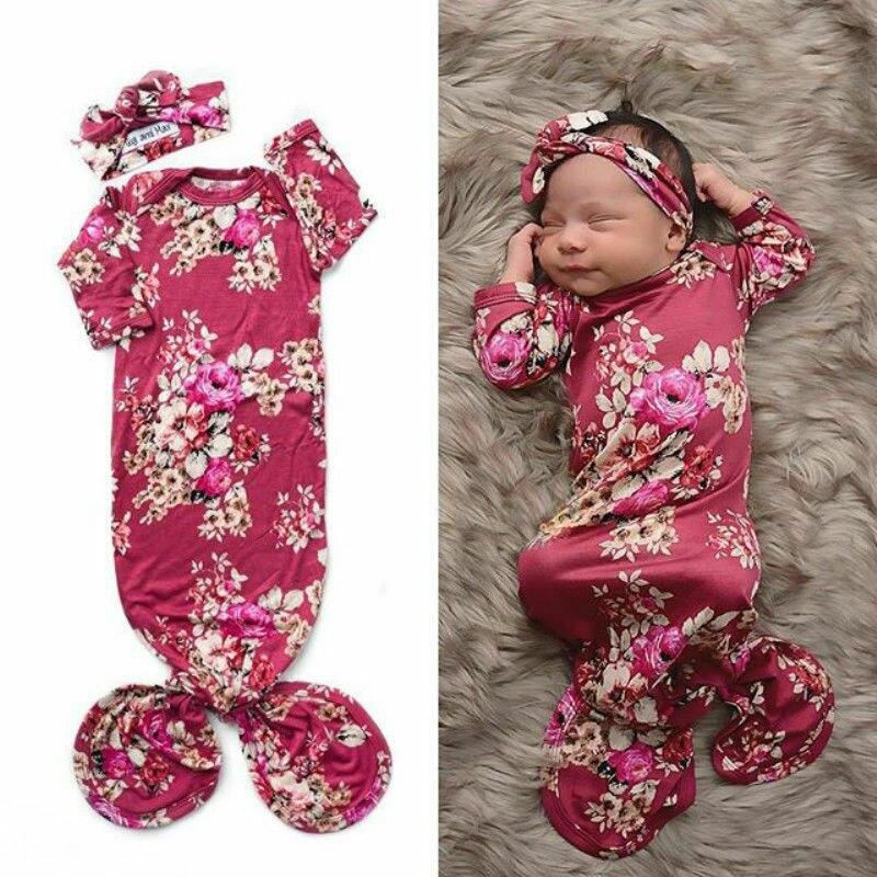 0-6M bebé niña Floral sacos de dormir niñas Floral manga larga envoltura del sueño Swaddle + diadema para recién nacido 8 colores