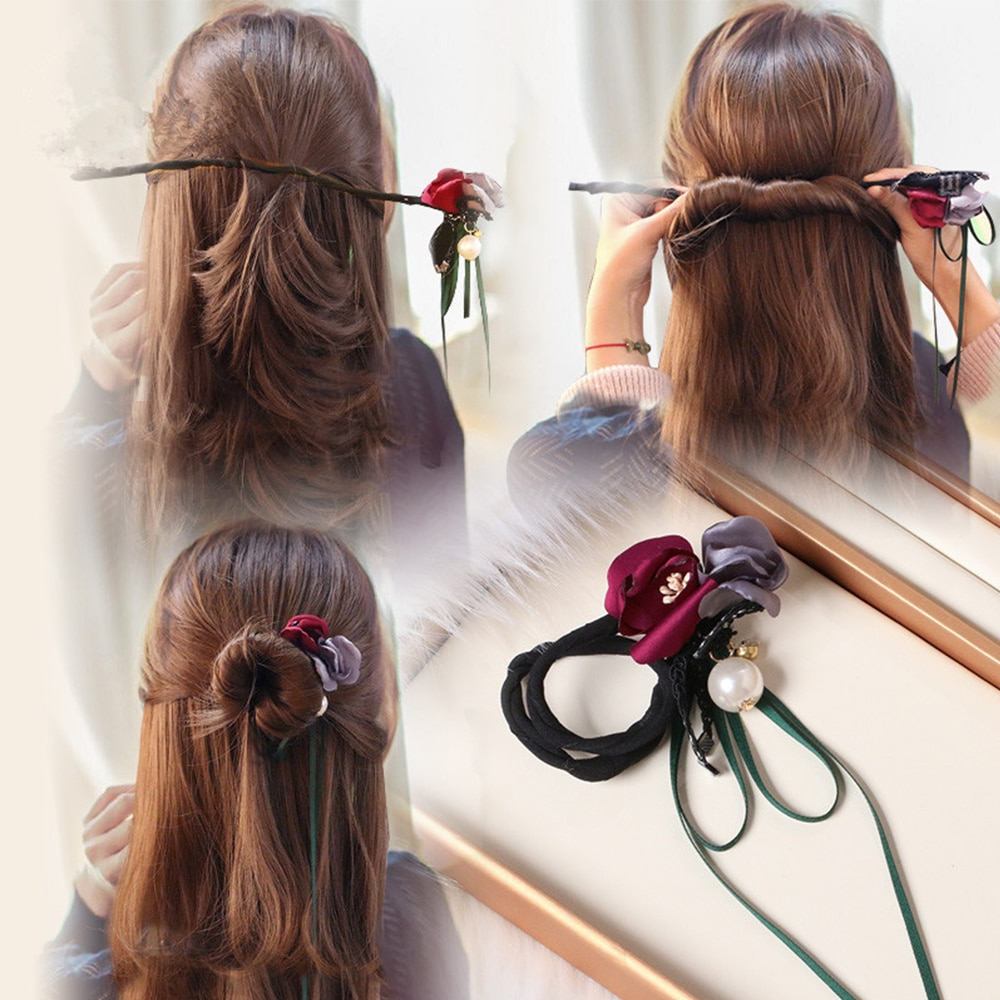 1 diadema torcida de flores para mujer con forma de donut, accesorio para el pelo DIY para niñas, accesorios florales para el cabello, diadema