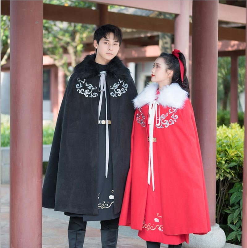 Men&Women Hanfu Cloak Chinese Ancient Traditional Winter Black Red Cape Cloak Adult Christmas Costume For Couples Plus Size unisex halloween christmas cloak cape adult men women hooded long cloak black costume dress coats death wizard cosplay costume